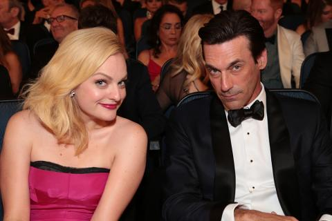 Elisabeth Moss and Jon Hamm at the 67th Emmy Awards.