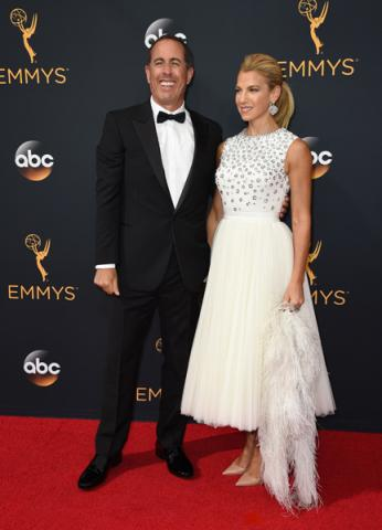Jerry Seinfeld and Jessica Seinfield on the red carpet at the 2016 Primetime Emmys.