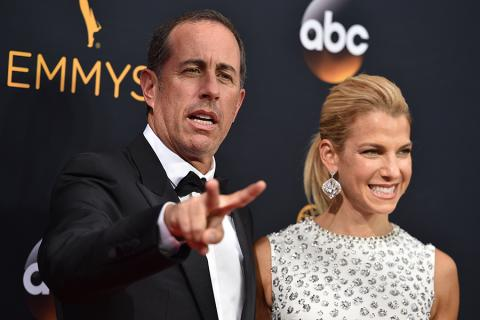 Jerry and Jessica Seinfeld on the red carpet at the 2016 Primetime Emmys.