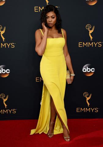 Taraji P. Henson on the red carpet at the 2016 Primetime Emmys.
