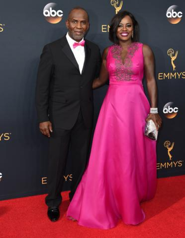 Julius Tennon and Viola Davis on the red carpet at the 2016 Primetime Emmys.