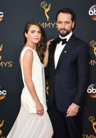 Keri Russell and Matthew Rhys on the red carpet at the 2016 Primetime Emmys.