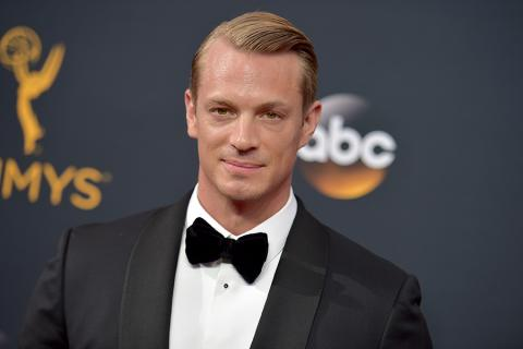 Joel Kinnaman on the red carpet at the 2016 Primetime Emmys.