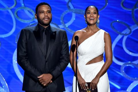 Anthony Anderson and Tracee Ellis Ross present an award at the 2016 Primetime Emmys.