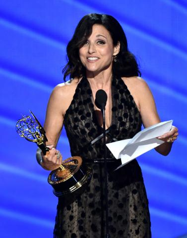Julia Louis-Dreyfus accepts her award at the 2016 Primetime Emmys.