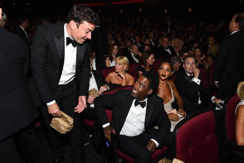Jimmy Fallon and Chris Rock at the 2016 Primetime Emmys.