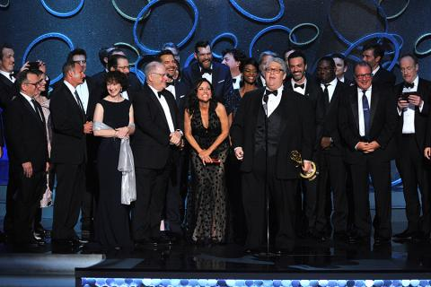 The cast and crew from Veep accept an award at the 2016 Primetime Emmys.