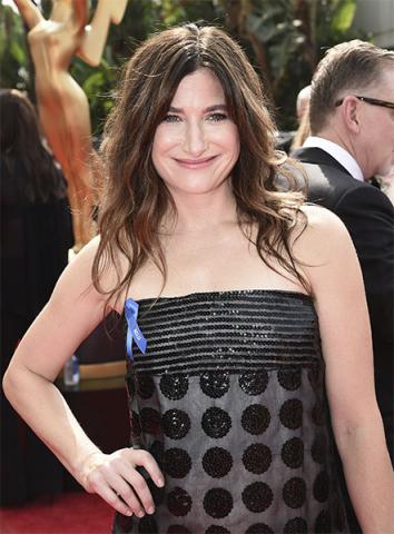 Kathryn Hahn on the red carpet at the 2017 Primetime Emmys.