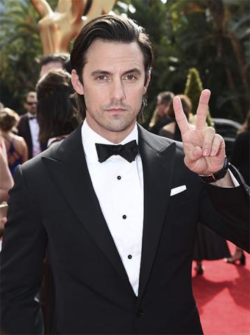 Milo Ventimiglia on the red carpet at the 69th Primetime Emmy Awards