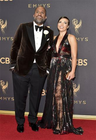 Kenya Barris and Dr. Rainbow Edwards-Barris on the red carpet at the 2017 Primetime Emmys.