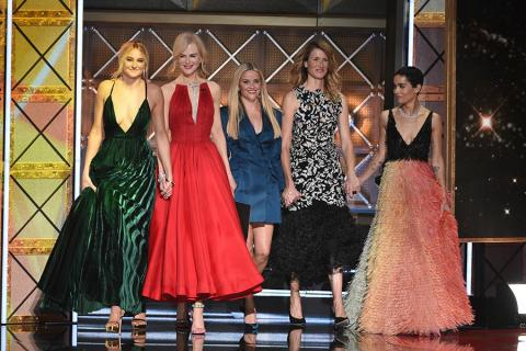Shailene Woodley, Nicole Kidman, Reese Witherspoon, Laura Dern and Zoe Kravitz on stage at the 69th Primetime Emmy Awards