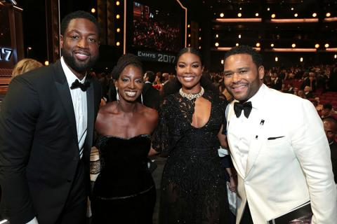 Dwyane Wade, Alvina Stewart, Gabrielle Union, and Anthony Anderson at the 2017 Primetime Emmys.