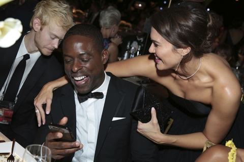 Sterling K. Brown and Mandy Moore at the 69th Emmys Governors Ball.