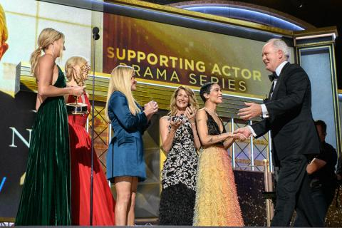 The cast of Big Little Lies and John Lithgow on stage at the 69th Emmy Awards.