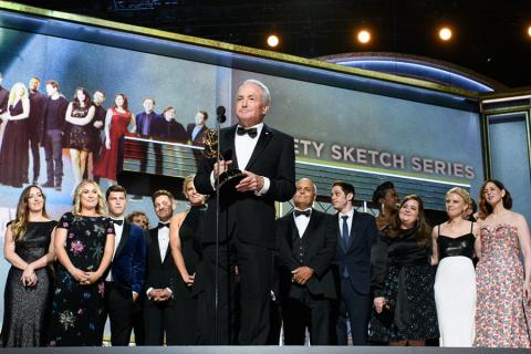 Lorne Michaels accepts an award at the 69th Emmy Awards.