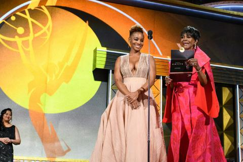 Anika Noni Rose and Cicely Tyson on stage at the 69th Emmy Awards