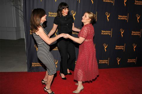 """Television Academy governors Gail Mancuso, Kathryn Burns, and Mandy Moore at """"Whose Dance Is It Anyway?"""" February 16, 2017, at the Saban Media Center in North Nollywood, California."""