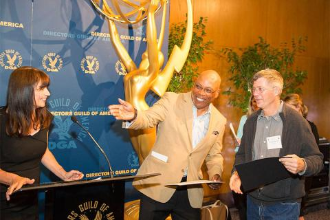 Gail Mancuso, Paris Barclay and Craig Spirko at the Directors Nominee Reception at the Directors Guild of America in West Hollywood, California.