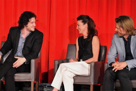 Kit Harrington, Michelle Fairley and Nikolaj Coster-Waldau onstage at An Evening with Game of Thrones.