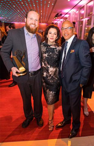 Benjamin Hoff, Television Academy Foundation chair Madeline Di Nonno, and Television Academy governor Rickey Minor at the 38th College Television Awards presented by the Television Academy Foundation on Wednesday, May 24, 2017, in the NoHo Arts District i