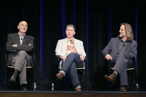 Jeffrey Tambor, Ali Liebegott, and Jim Frohna onstage at Transparent: Anatomy of an Episode, March 17, 2016 in Los Angeles.