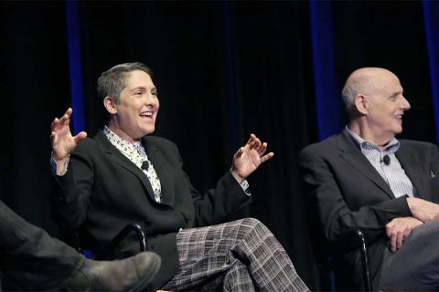 Creator Jill Soloway and actor Jeffrey Tambor onstage at Transparent: Anatomy of an Episode, March 17, 2016 in Los Angeles.