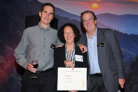 Chip Johannssen, Liz Friedman and Pete Hammond at the Writers Nominee Reception in North Hollywood, California.