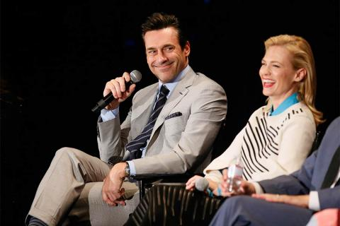 """Jon Hamm and January Jones onstage at """"A Farewell to Mad Men,"""" May 17, 2015 at the Montalbán Theater in Hollywood, California."""