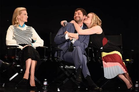 """January Jones, Vincent Kartheiser, and Elisabeth Moss onstage at """"A Farewell to Mad Men,"""" May 17, 2015 at the Montalbán Theater in Hollywood, California."""