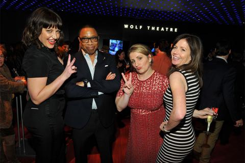 "Television Academy governor Kathryn Burns, Television Academy chairman and CEO Hayma Washington, Television Academy governors Mandy Moore and Gail Mancuso at ""Whose Dance Is It Anyway?"" February 16, 2017, at the Saban Media Center in North Nollywood, Cali"