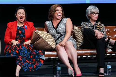Gloria Calderon Kellett, Justina Machado, and Rita Moreno onstage at The Power of TV: A Conversation with Norman Lear and One Day at a Time, presented by the Television Academy Foundation and Netflix in celebration of the Foundation's 20th Anniversary of