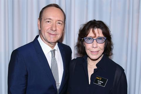66th Primetime Emmy nominee Kevin Spacey and Television Academy governor Lily Tomlin at the Performers Peer Group nominees reception.