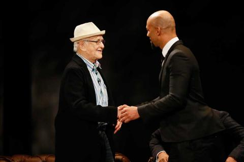 Norman Lear and Common onstage at An Evening with Norman Lear at the Montalban Theater in Hollywood.