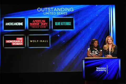 Uzo Aduba and Cat Deeley announce the nominees for Outstanding Limited Series at the nominations announcement for the 67th Emmy Awards  July 16, 2015 at the Pacific Design Center in Los Angeles, CA.