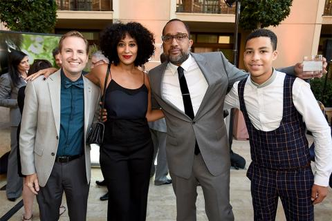 Maury McIntyre with Tracee Ellis Ross, producer Kenya Barris and Marcus Scribner of black-ish  at the reception at the Eighth Annual Television Academy Honors, May 27 at the Montage Beverly Hills.