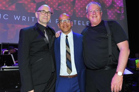 Television Academy governors Michael A. Levine and Rickey Minor with conductor Mark Watters at WORDS + MUSIC, presented Thursday, June 29, 2017 at the Television Academy's Wolf Theatre at the Saban Media Center in North Hollywood, California.