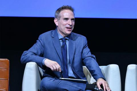 Moderator Michael Schneider onstage at The Power of TV: A Conversation with Norman Lear and One Day at a Time, presented by the Television Academy Foundation and Netflix in celebration of the Foundation's 20th Anniversary of THE INTERVIEWS: An Oral Histor