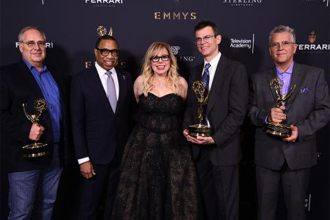 Mike Minkler, Hayma Washington, Kirsten Vangsness, Colin McDowell, and Gary Simpson