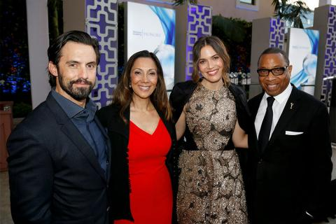 Milo Ventimiglia, Lucia Gervino,Television Academy Honors Chair, Mandy Moore, and Hayma Washington, Television Academy Chairman & CEO at the 2017 Television Academy Honors at the Montage Hotel on Thursday, June 8, 2017, in Beverly Hills, California.