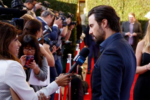 Milo Ventimiglia is interviewed on the red carpet at the 2017 Television Academy Honors at the Montage Hotel on Thursday, June 8, 2017, in Beverly Hills, California.