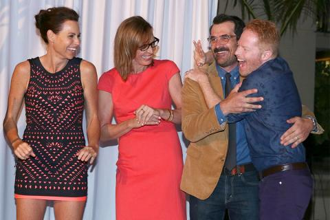 66th Primetime Emmy nominees Minnie Driver, Allison Janney, Ty Burrell, and Jesse Tyler Ferguson at the Performers Peer Group nominee reception.