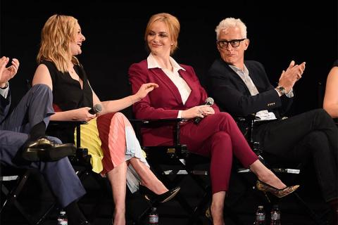 "Elisabeth Moss, Christina Hendricks, and John Slattery onstage at ""A Farewell to Mad Men,"" May 17, 2015 at the Montalbán Theater in Hollywood, California."