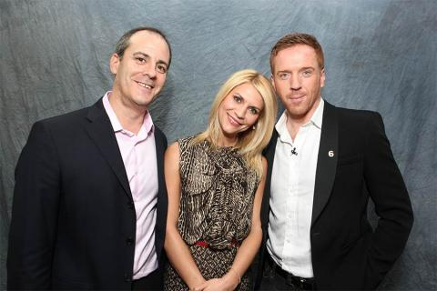 Showtime president David Nevins with actors Claire Danes and Damian Lewis at An Evening with Homeland.