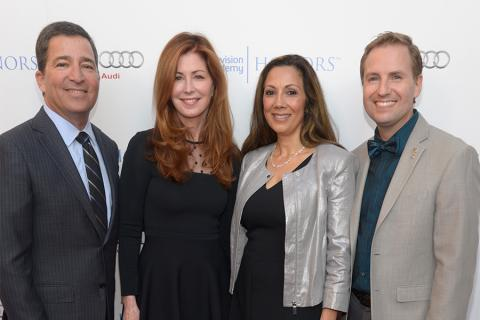 Television Academy chairman and CEO Bruce Rosenblum, host Dana Delaney, Honors chair Lucia Gervino, and Television Academy president and COO Maury McIntyre arrive at the Eighth Annual Television Academy Honors, May 27 at the Montage Beverly Hills.