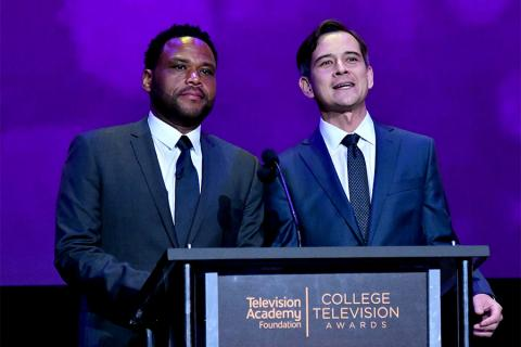 Host Anthony Anderson and Paul Chen of Ernst and Young on stage at the 38th College Television Awards presented by the Television Academy Foundation at the Saban Media Center on Wednesday, May 24, 2017, in the NoHo Arts District in Los Angeles.