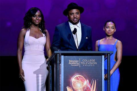 Antoinette Robertson, Justin Simien, and Logan Browning present an award on stage at the 38th College Television Awards presented by the Television Academy Foundation at the Saban Media Center on Wednesday, May 24, 2017, in the NoHo Arts District in Los A