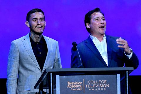 Richard Cabral and Benito Martinez present an award on stage at the 38th College Television Awards presented by the Television Academy Foundation at the Saban Media Center on Wednesday, May 24, 2017, in the NoHo Arts District in Los Angeles.