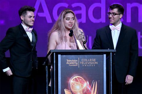 John McDonald, Echo Wu, and Kal Athannassov accept an award on stage at the 38th College Television Awards presented by the Television Academy Foundation at the Saban Media Center on Wednesday, May 24, 2017, in the NoHo Arts District in Los Angeles.