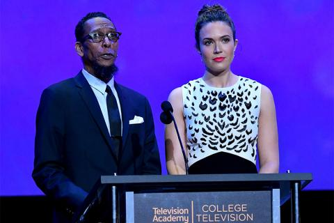 Ron Cephas Jones and Mandy Moore present an award on stage at the 38th College Television Awards presented by the Television Academy Foundation at the Saban Media Center on Wednesday, May 24, 2017, in the NoHo Arts District in Los Angeles.