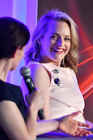 Beatrice Springborn and Elisabeth Moss at The Handmaid's Tale: From Script to Screen at the Wolf Theatre at the Saban Media Center in North Hollywood, California.